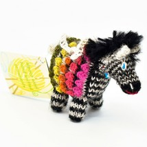 Handknit Alpaca Wool Whimsical Hanging Zebra Ornament Handmade in Peru