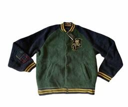 Polo Ralph Lauren Large Varsity Jacket 67 Snap Plaid Line Fuzzy NWT! - $216.81