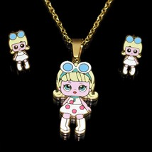 Cartoon Snow White  Doll Necklaces Pendants Stainless Steel Golden Plate... - $13.13