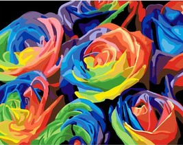 Rainbow Rose 16X20'' Paint By Number Kit DIY Acrylic Painting on Canvas ... - $8.99