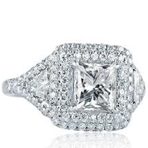 2.60 TCW Princess Cut Trillion Side Diamond Engagement Ring 18k White Gold - $5,642.01