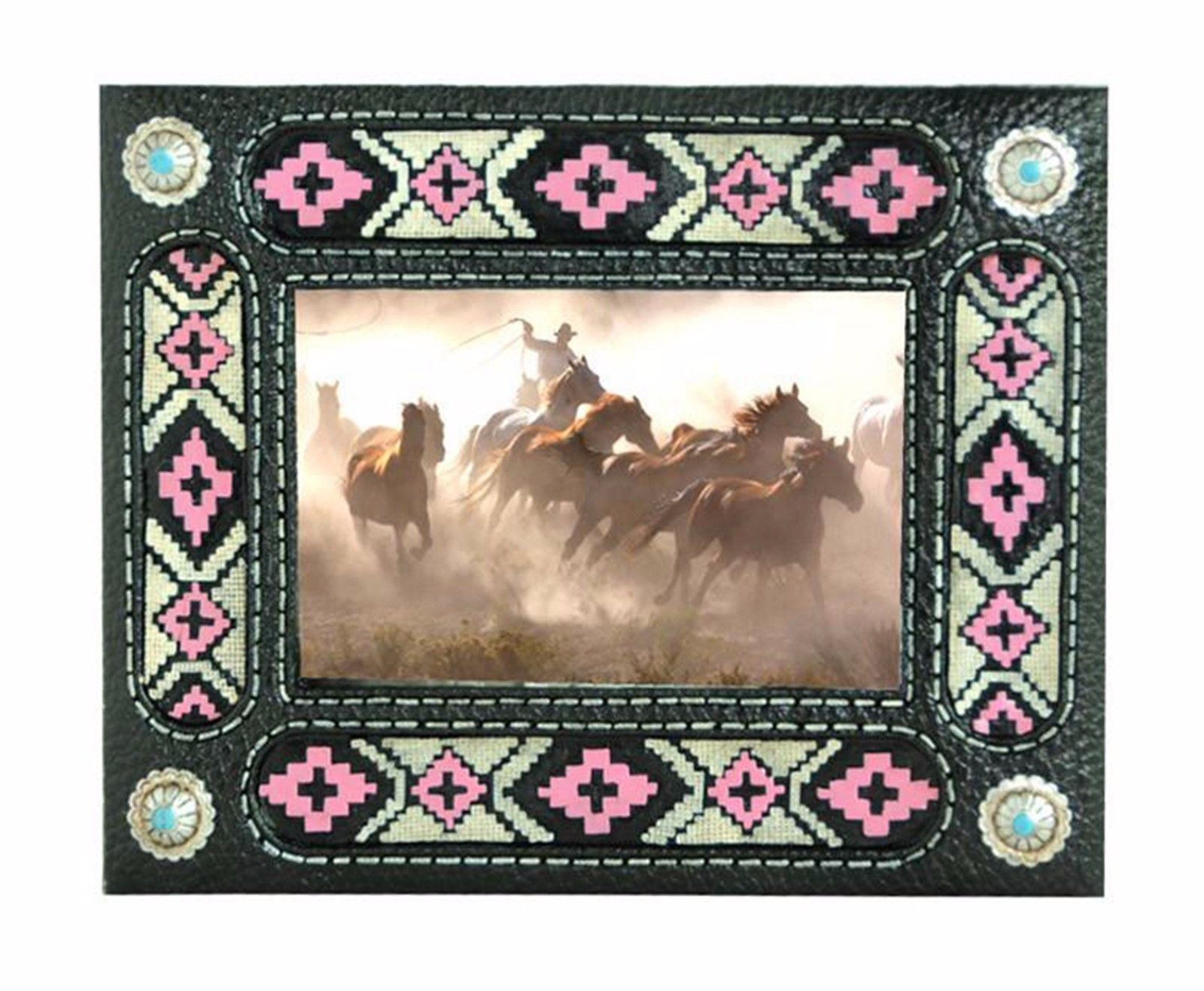 Western Style Decorative Picture Frame Home Decor Montana West Black Pink Aztec