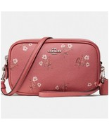 NWT Coach Sadie 66691 Bright Coral Viral Bow Crossbody Clutch Double Zip... - $98.95