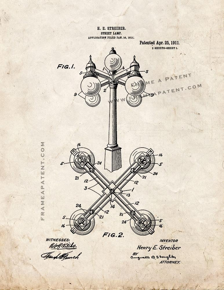 Primary image for Street Lamp Patent Print - Old Look