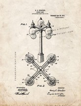 Street Lamp Patent Print - Old Look - $7.95+