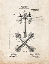 Street Lamp Patent Print - Old Look - $7.95+