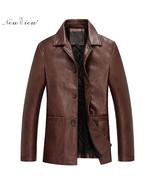 Fashion Men Leather Jackets Autumn PU Casual Coats For Men Male Biker Ja... - $139.99
