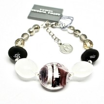 Bracelet Antique Murrina Venezia Lampwork Murano Glass Charm Bead Black & White image 2