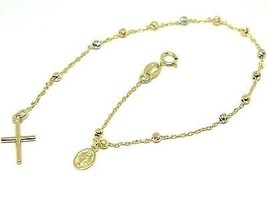 Bracelet Yellow White Rose Gold 750 18K Rosary Beads, cross, Miraculous ... - $190.00