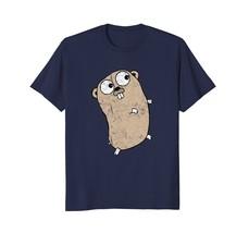 Go Programming Language Tan Brown Grunge Logo Gopher T-Shirt - $17.99+