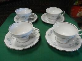 Beautiful Johann Haviland Bavaria Blue GARLAND-Set 4 Cups & Saucers Lot #2 - $19.39