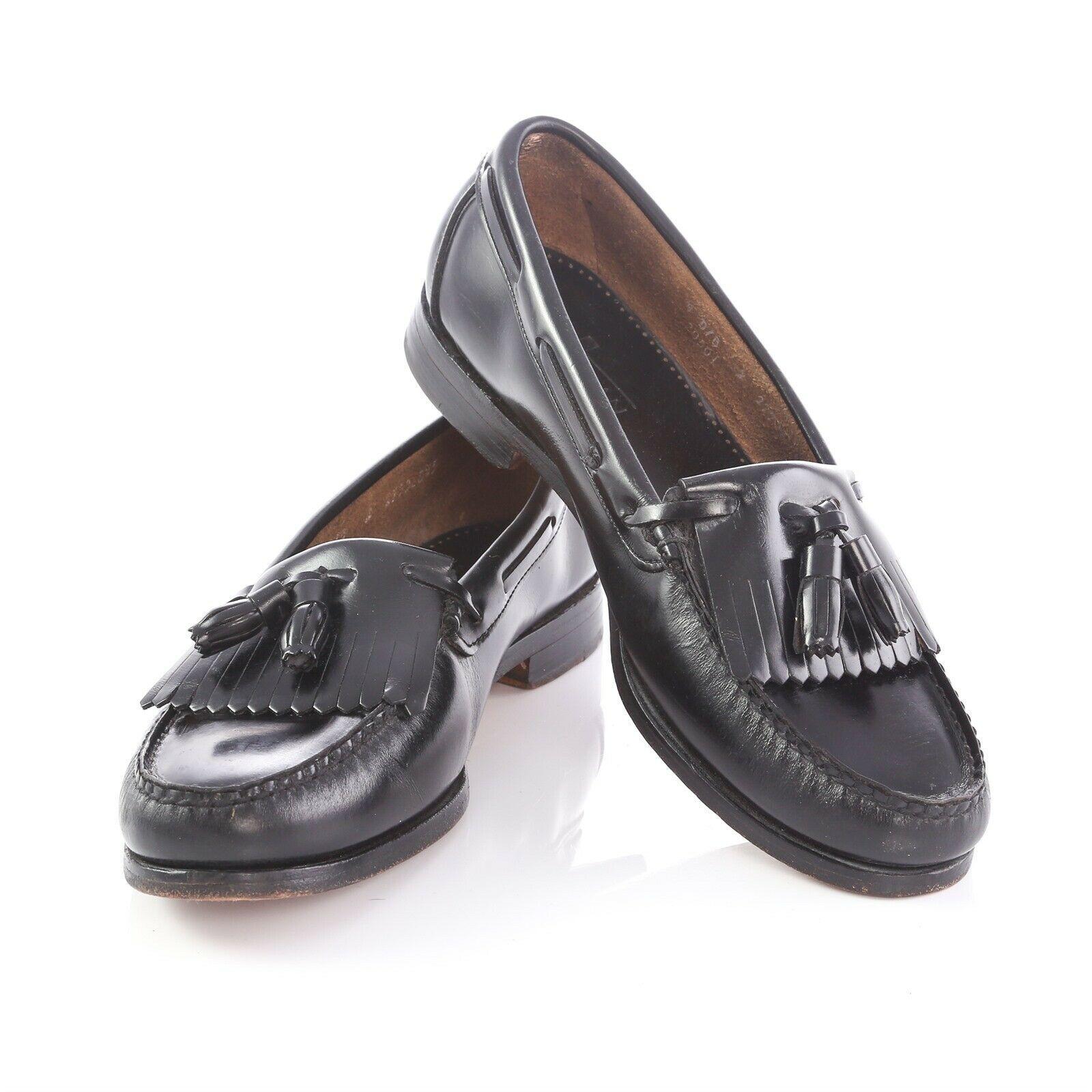 f5690d66e28 Bostonian Black Leather Kiltie Tassel Loafers Shoes Apron Toe Mens 9 Made in  USA -  34.55