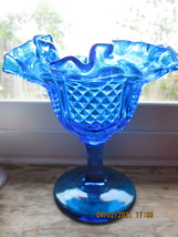 FENTON GLASS COLONIAL BLUE  PINEAPPLE PATTERN TALL COMPOTE NO FENTON LOG... - $35.00