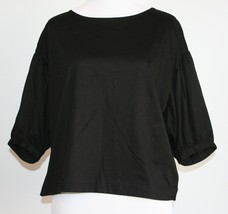 NEW! UNI GLO Black Dressy Top with puffy sleeves Size Small Women NWT - $14.84
