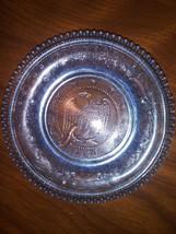 Westmoreland Blue Sandwich Glass 1831 Liberty  Eagle Clear Cup Plate/Coa... - $12.34