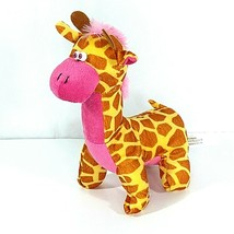 Toymax Giraffe Plush Stuffed Animal Yellow Brown Pink 9 in - $12.86