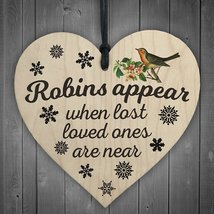 Robins Appear When Lost Loved Ones Are Near Hanging Heart Christmas Tree... - $10.99
