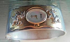 Vintage Gorham Unicorn Two Tone Hinged Bangle Bracelet Wrist Watch in Box RARE F image 4