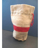 Natural Jute Draw-String Gift Wine Pouch Red Stripe Environmentally Frie... - $6.49