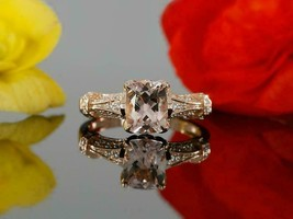 4.34Ct Cushion Pink Morganite & Diamond Solitaire With Accents Engagemen... - $86.89