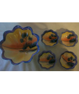 5 HAND PAINTED JAPANESE Lustreware CERAMIC SERVING BOWLS BY HAFIN - $96.53
