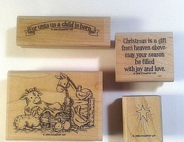 Stampin Up Unto Us A Child Is Born  Christian Nativity  Christmas Manger Animals - $38.93