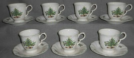 Set (7) Nikko HAPPY HOLIDAYS PATTERN Cups/Saucers HOLIDAY - CHRISTMAS - $49.49