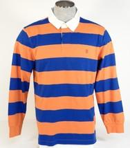 Izod Long Sleeve Polo Shirt Orange & Blue Stripe Mens NWT - $48.74