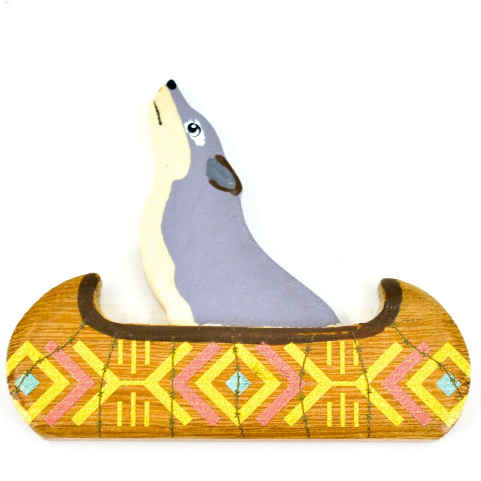 Northwoods Howling Wolf in Canoe Painted Wood Rustic Cabin Refrigerator Magnet
