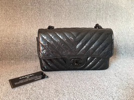 100% Auth Chanel 2018 SO BLACK Chevron Leather Large Mini Rectangular Flap Bag