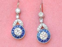 ART DECO 1.22ctw DIAMOND .78ctw SAPPHIRE HALO PLATINUM SHORT DANGLE EARR... - $4,236.21