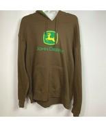 John Deere pullover hoodie sweatshirt brown mens xl - $39.60