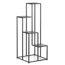 "MODERN FOUR TIER PLANT STAND Black Square Geometric Design 39"" Tall - $68.21"