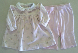 Girl's Size 6 M Months 2 Piece Outfit Pink Floral Ralph Lauren Dress & P... - $14.00