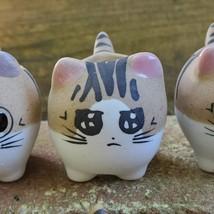 "Ceramic Cat Planters, set of 6, 2.5"" Animal Pots, Emotion Face Kitten Kitty image 2"