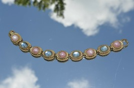 Sarah Coventry Gold Tone Cabochon Pink & Blue 7''inches ''NICE - $11.26