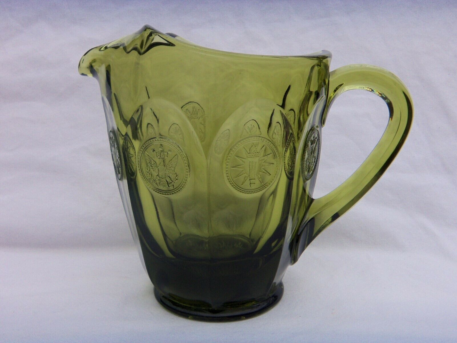 Primary image for VINTAGE FOSTORIA GREEN COIN GLASS PITCHER 6.5 INCHES TALL    NICE