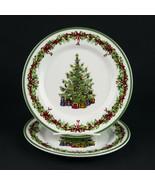 Chistopher Radko Holiday Celebrations Salad Plates Set 2, Christmas Tree... - $14.70