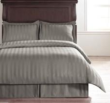 Damask Stripe Light Grey 5pc KING Size Bed Polyester Duvet Set with Duve... - $82.89