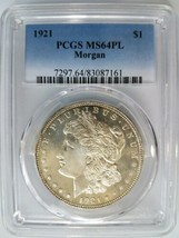1921 Silver Morgan Dollar PCGS MS 64 PL Proof Like Graded Mirrors Coin Gem  - $1,099.99