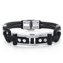 Stainless Steel & Black Silicon Industrial Design Bracelet - $60.99