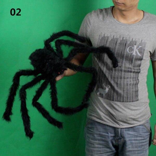 1PCs Fake Spider Prank Gift New Halloween Horrible Big Black Furry Spider Decor image 8