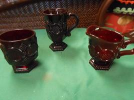 """Great AVON """"Cape Cod"""" RUBY RED ..SUGAR & CREAMER & FREE Goblet/Mug - $14.44"""