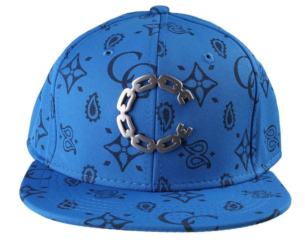 Crooks & Castles Cobalt Monogram Chain C Woven Strapback Baseball Hat Cap NWT