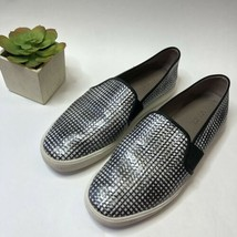 VINCE Black/Silver Checker Grid Slip On Comfort Sneaker Leather Size 10 - $27.96