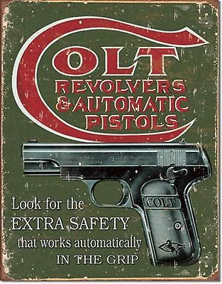 Colt Pistols Revolvers Pistols Ammo Metal Sign Tin New Vintage Style USA #1592 image 1