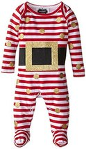 Mud Pie Baby-Girls Newborn Glitter Santa Footed One Piece, Red/White, 0-3mo - $24.50