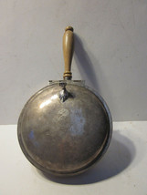 VINTAGE SILVER PLATED HORSE DESIGN ON LID WOOD HANDLE ROUND TABLE BUTLER - $9.99