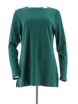 Isaac Mizrahi Stylish Essentials Long Slv Knit Tunic Pine Green XXS NEW ... - $19.78