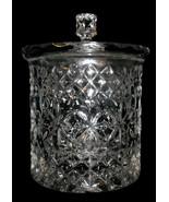 Bohemian Crystal Glass Biscuit Jar Lidded Stars Diamonds Barrel Cookie J... - $39.99